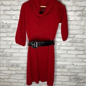 🌵3/$10 or 5/$15 Cowl Neck Red Sweater Dress Belt